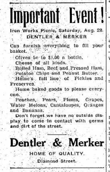 Dentler & Merker Ad Diamond St 8.27.1909