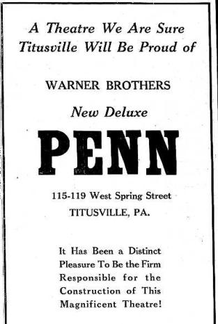 Penn Theatre Ad 9.21.39