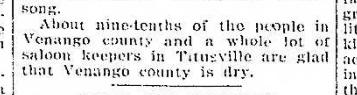 Titusville glad Venango County Dry 4.8.1914