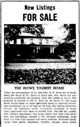 House Listed for Sale after Howe 6.20.1957