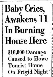 Howe Fire Headline 1.29.1959