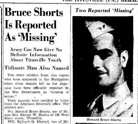 Bruce Shorts Missing 8.11.1942
