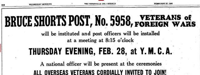 Bruce Shorts Post Opening 2.27.1946