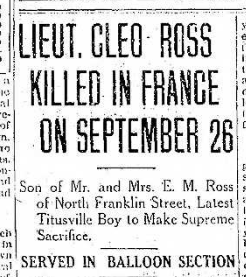 Cleo Ross Killed 1 10.12.1918