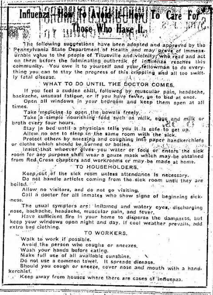 how to care for influenza instructions th 10.14.1918
