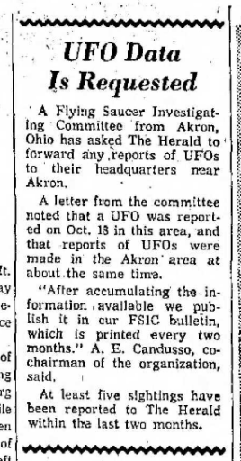 UFO Data Requested 11.2.1964