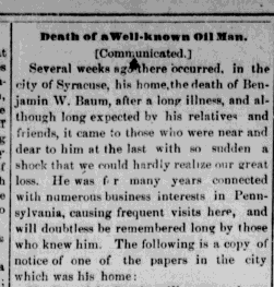 BW Baum Obit warren-daily-mirror-Apr-09-1887-p-4