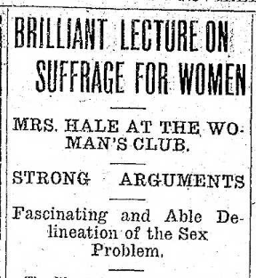 Brilliant Lecture on Suffrage for Women Headline 11.19.1912 TH