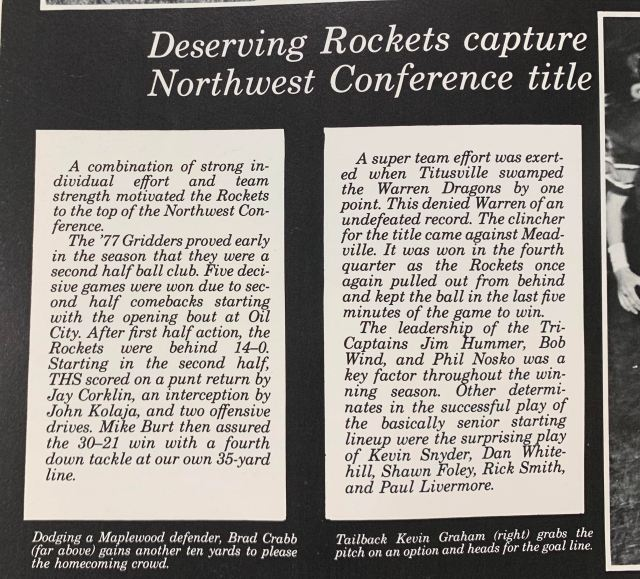 THS Football Conference 1977
