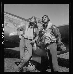 Benjamin O Davis Jr on R LOC Ramitelli, Italy] by Toni Frissell March 1945