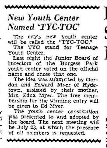 Tyc-Toc Naming. Photo Credit: Titusville Herald 7/7/1951.